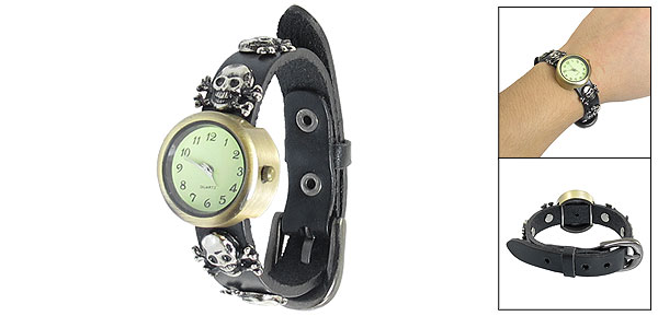 Women Single Pin Buckle Skull Design Black Band Round Dial Watch