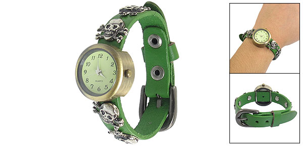 Lady Prong Buckle Silver Tone Skull Heads Decor Faux Leather Green Band Watch
