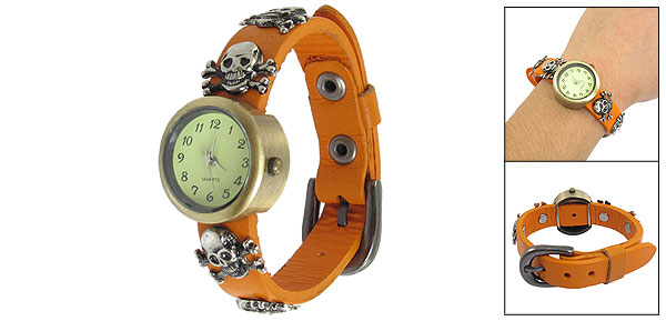 Ladies Arabic Numerals Display Skull Style Orange Band Round Case Wristwatch