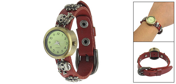 Women Prong Buckle Silver Tone Skull Heads Decor Faux Leather Brown Band Watch