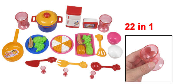 Multicolor 22 in 1 Pizza Fruit Pan Kitchenware Toy for Children