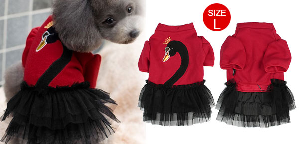 Plush Lining Crowned Swan Pattern Pet Dog Apparel Winter Red Coat Tutu Dress L