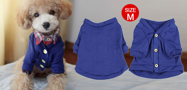 Royal Blue Pet Dog Clothes Sweater Knitwear Coat Apparel Size M