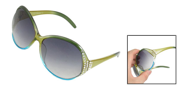 Ladies Clear Yellow Blue Plastic Full Rim Outdoor Sunglasses
