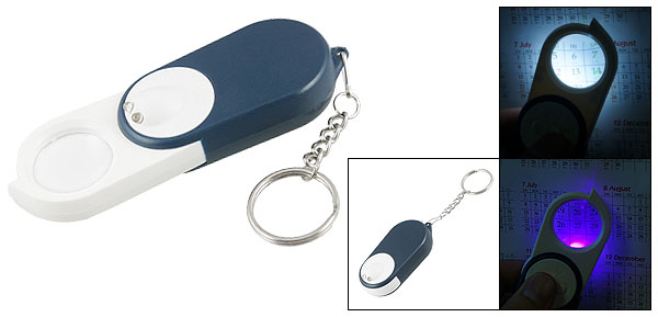 Blue Casing White Purple Light Foldaway Money Detector Torch Magnifier Keychain