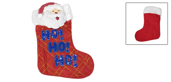 HO HO HO Santa Claus Xmas Gift Holder Christmas Stocking Tree Hang Decoration