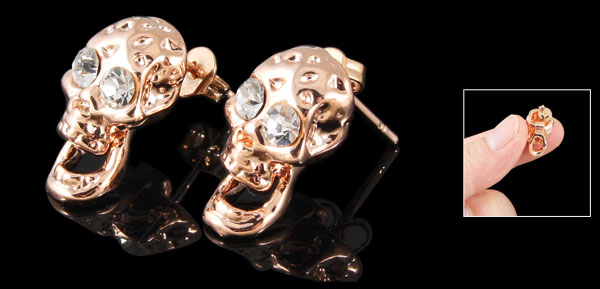 Pair Copper Tone Skull Shaped Rhinestone Eye Pendant Ear Stud Earrings for Women