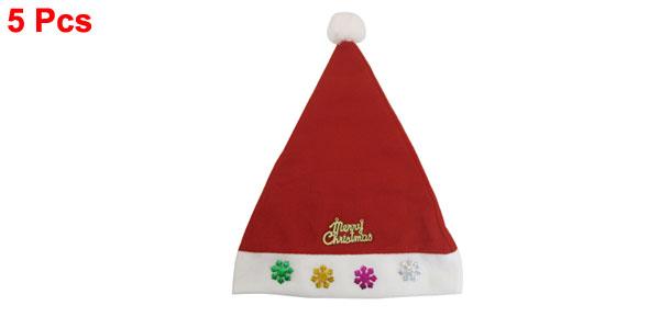 5 Pcs Snowflower Accent White Rim True Red Xmas Christmas Santa Hat for