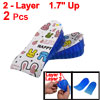 "Blue 1.7"" Up Silicone Dual Layers Shoes Heel Lift Pads Height Ins..."