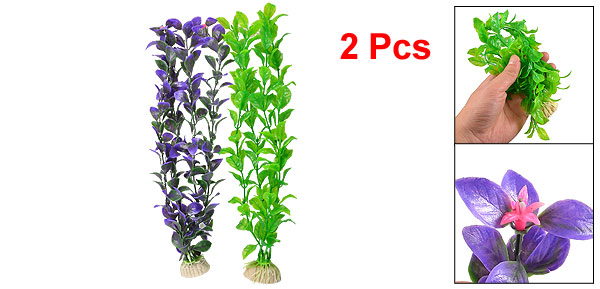 2 Pcs Emulational Dark Green Purple Plastic Leaves Water Plant for Fish Tank