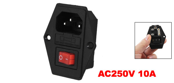 Black Red AC 250V 10A 3 Pin 6 Terminals Power Socket w Switch