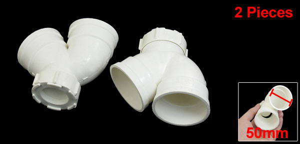 PVC-U 50mm Drainage Pipe Adapter Bend PVC Connector White 2 Pieces