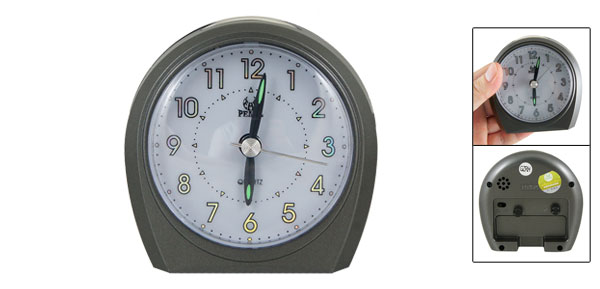 Home Gray Plastic Shell Travel Arabic Number Alarm Clock