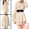 Ladies Turn Down Collar Above Knee Belted Tiered Dress Beige M