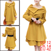 Ladies Dark Yellow Long Sleeve Convertible Dress w Waistbelt L