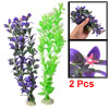 2 Pcs Cement Base Dark Green Purple Plastic Leaves Water Plant fo...