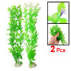 "2 Pcs Decorative Green Plastic Plant 13"" w Cement Base for Fish T..."