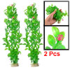 2 Pcs Green Plastic Leaf Fuchsia Yellow Flower Ornament Water Plant for Aquarium