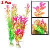 2 Pcs Aquarium Ornament Ceramic Base Red Green Fuchsia Leaves Und...
