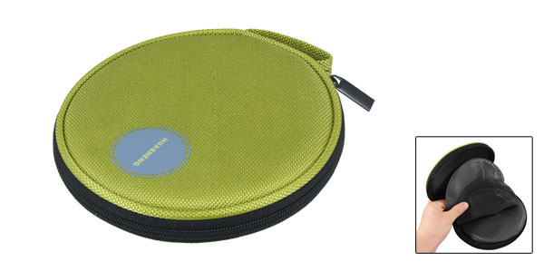 Green Nylon 10 Sheets 20 Pieces Capacity Auto Car CD DVD Round Case Bag Holder