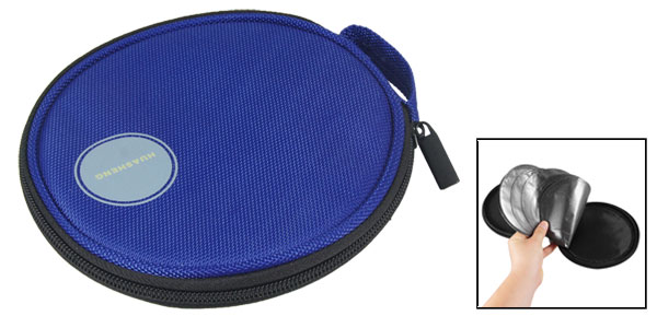 Blue Nylon 10 Sheets 20 Pieces Capacity Auto Car CD DVD Round Case Bag Holder