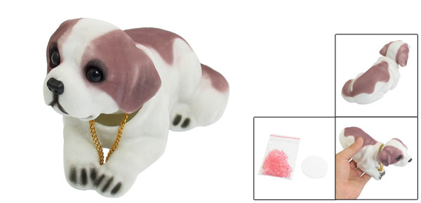 White Purple Fragrant Saint Bernard Nodding Dog Decoration for Car Auto