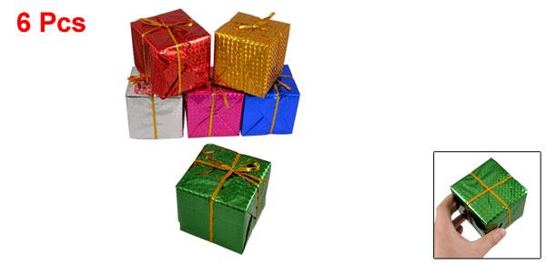 6 Pcs Multi Color 8x8x8cm Cubic Gift Ornament Box Christmas Tree Hanger