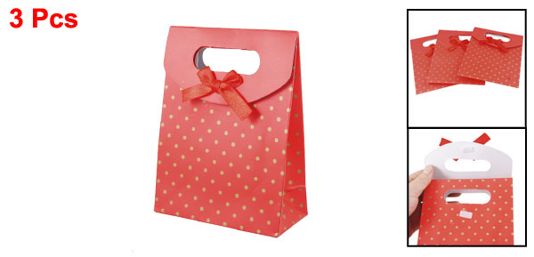 3 Pcs Hook and Loop Closure Dots Pattern Red Paper Gift Bag