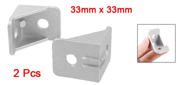 2pcs 33mm x 33mm 90 Degree Fastener Door Angle Bracket Silver Tone