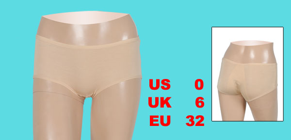 Ladies Beige Elastic Waist Briefs Underwear Panties XS