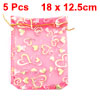 Gold Tone Fuchsia Heart Print Sheer Organza Bag w Drawstring 5 Pc...