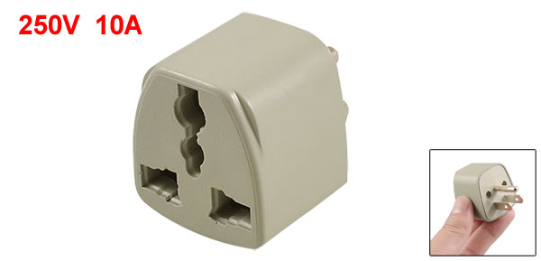 US 3 Pin to US UK Socket AC 250V 10A Power Plug Adapter Connector Gray
