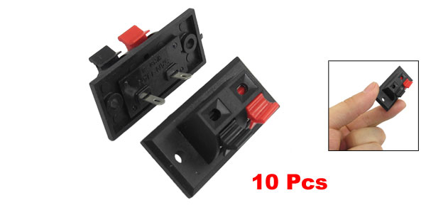 10 Pcs Single Row Red Black 2 Pin 2 Way Push in Jack Speaker Terminals