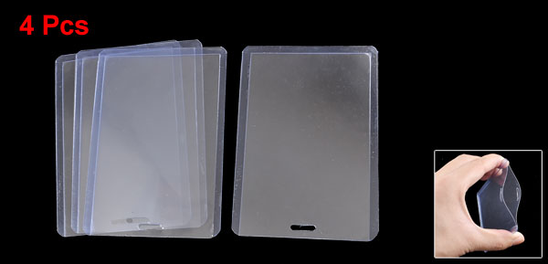 4 Pcs Plastic Vertical Business ID Card Holder Clear Blue