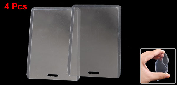 4 Pcs Plastic Vertical Business ID Card Holder Clear