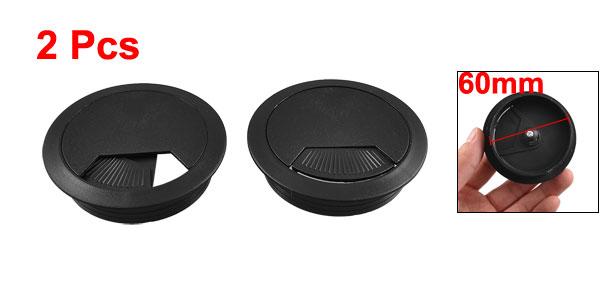 60mm Plastic Desktop Table Cable Cover Grommet Organizer Black 2 Pieces