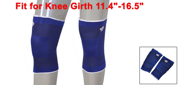 Pair Outdoor Sports Elastic Knee Sleeve Support Pullover Protector Blue White