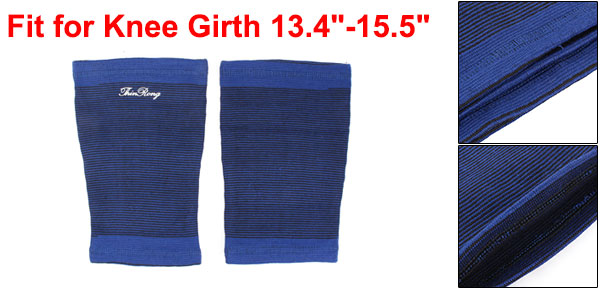 Outdoor Sports Black Blue Stretchy Spandex Sleeve Knee Support Protector Pair