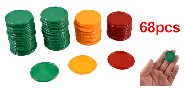 Red Orange Green Round Shaped Mini Poker Chips Lucky Game Props 69 Pcs