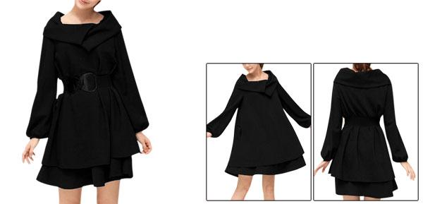 Ladies Turn Down Collar Above Knee Belted Tiered Dress Black L