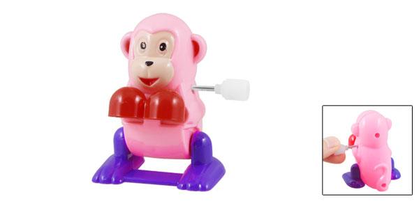 Pink Red Purple Plastic Wind Up Design Clockwork Cartoon Monkey Toy