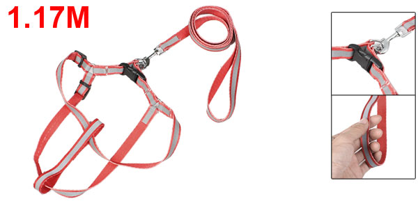 Red Nylon Rope Pet Dog Fluorescent Halter Harness Lead Leash 1.17M