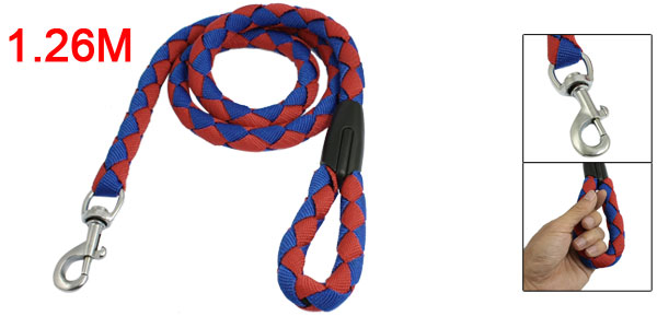 1.26M Red Blue Braided Nylon Coated Rubber Rope Dog Leash w Trigger Hook