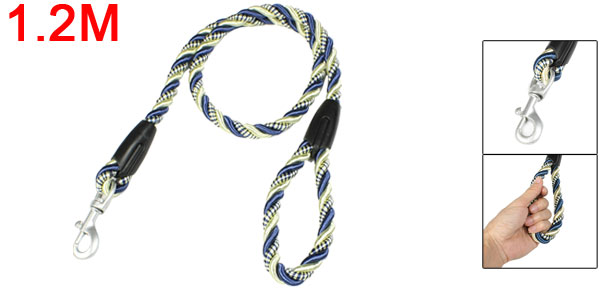 Pet Dog Leads Twisted Yellow Blue Rope Leashes 1.2M w Aluminum Trigger Hook