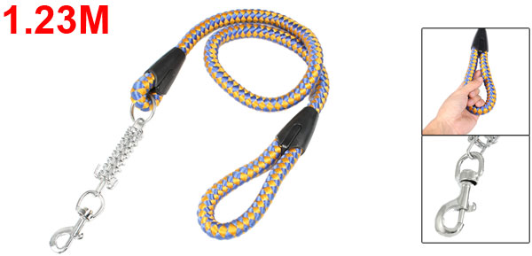 Pet Dog Leads Braided Orange Blue Rope Leashes w Steel Trigger Hook