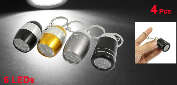 White Light 6 LED Aluminum Flashlight Torch Assorted Color 4Pcs