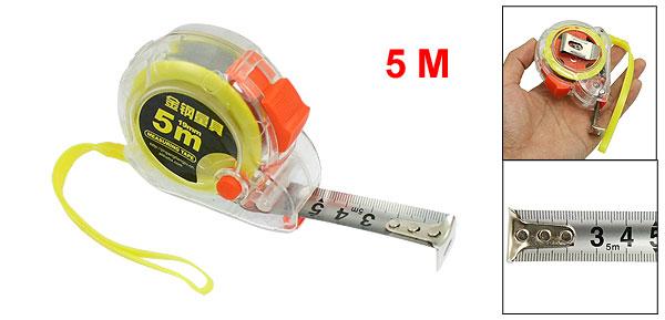 Plastic Housing Self Retract Measure Tape Rule 5M Yellow Orange Clear