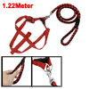 Red Black Braided Nylon Rope Puppy Dog Lead Harness Leash Collar 1.22M