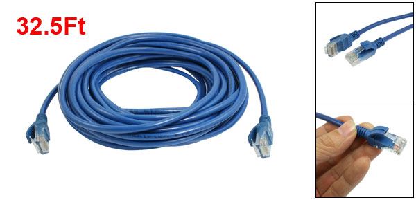 RJ45 8P8C Male CAT5E LAN Network Ethernet Cable Wire Cord Blue 32.5Ft
