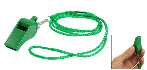Sports Referee Game Green Plastic Lanyard Whistle Toy